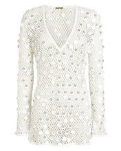 Sequined Crochet Cover-Up Dress, WHITE, hi-res