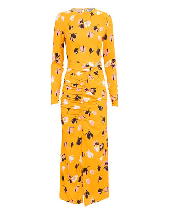 Floral Ruched Dress, MARIGOLD/FLORAL, hi-res