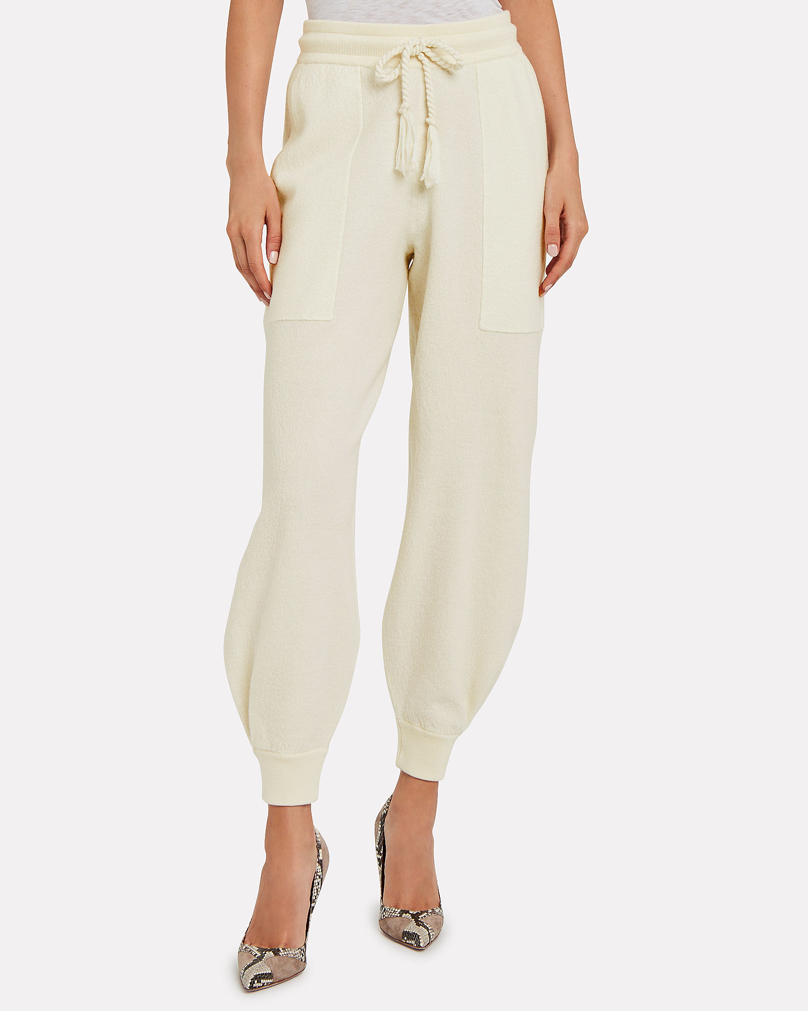 Morgana Merino Wool Sweatpants, WHITE, hi-res