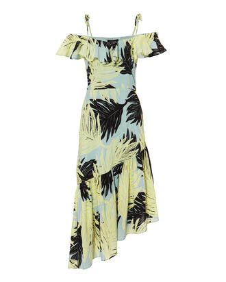 Lauren Palm Print Asymmetrical Dress, MULTI, hi-res
