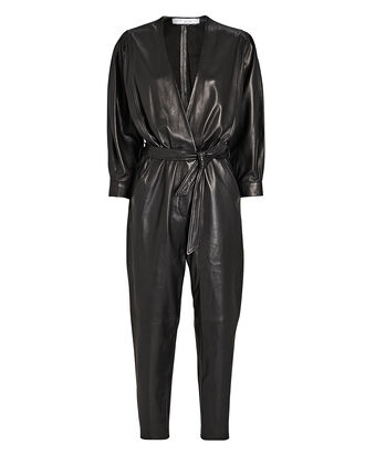 Healy Tie-Waist Leather Jumpsuit, , hi-res