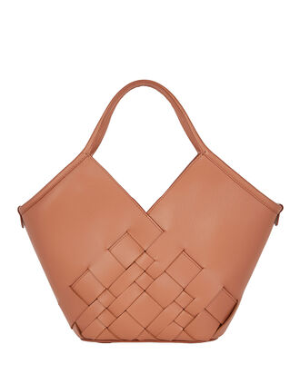 Coloma Small Woven Leather Tote, BROWN, hi-res