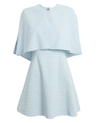 Blue Check Cape Mini Dress, LIGHT BLUE/WHITE, hi-res