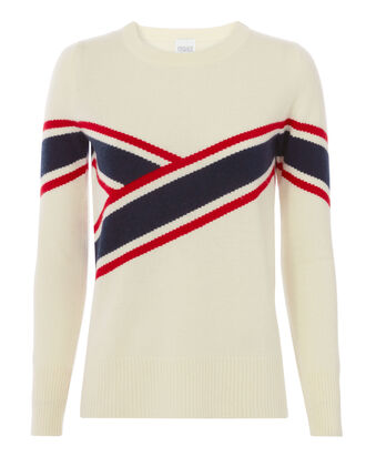 Anastasia Collegiate-Striped Sweater, IVORY, hi-res