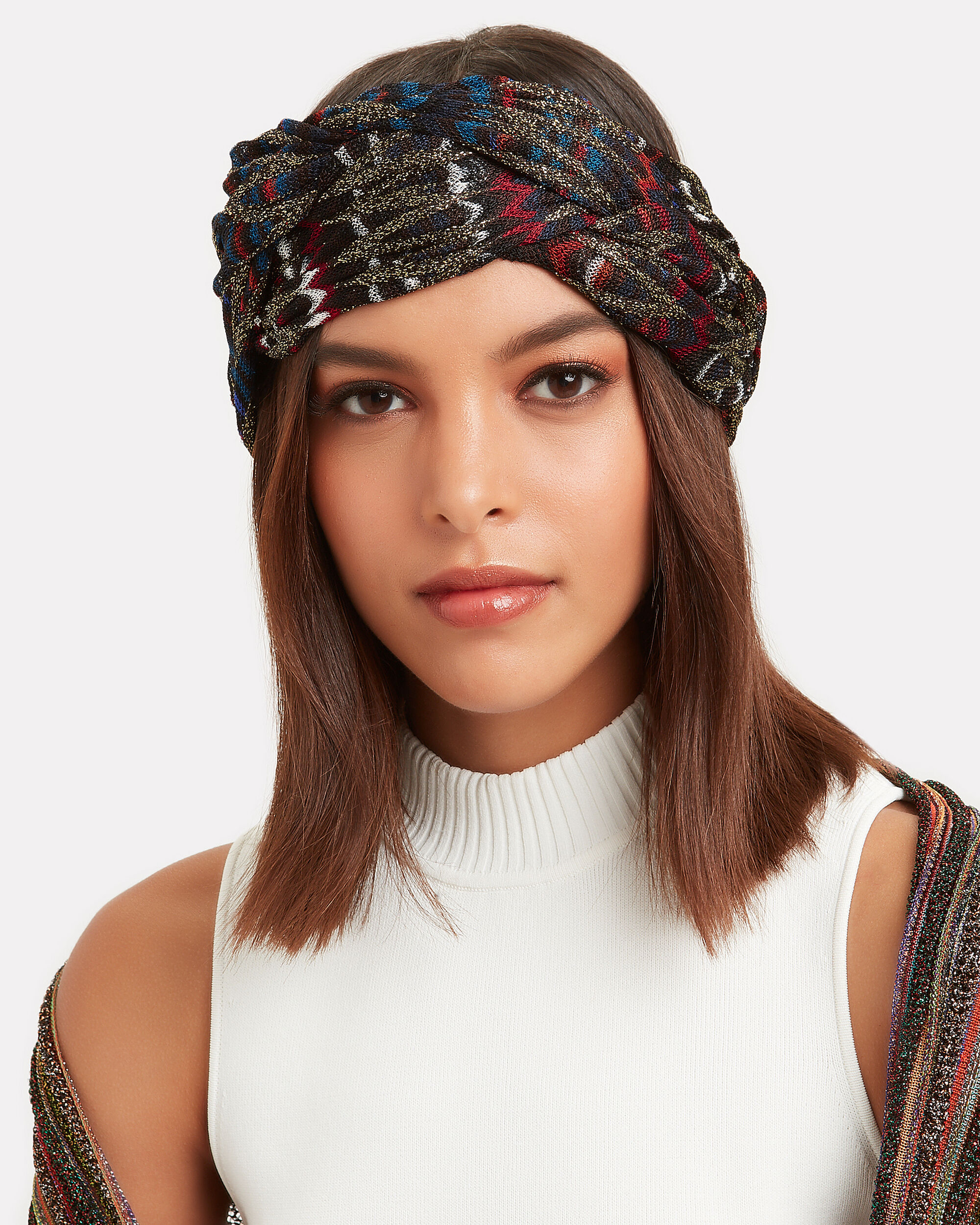 Lurex Turban Headband, BLACK/RED/SILVER, hi-res