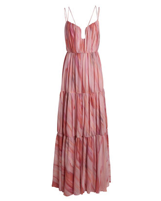 Madeleine Pleated Sleeveless Maxi Dress, PINK, hi-res