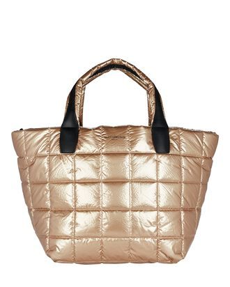 Vee Medium Quilted Tote Bag, GOLD, hi-res