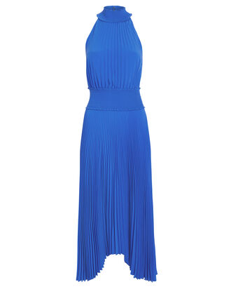 Renzo Pleated Asymmetric Dress, BLUE, hi-res