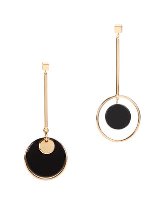 Mismatched Circle Drop Earrings, GOLD, hi-res