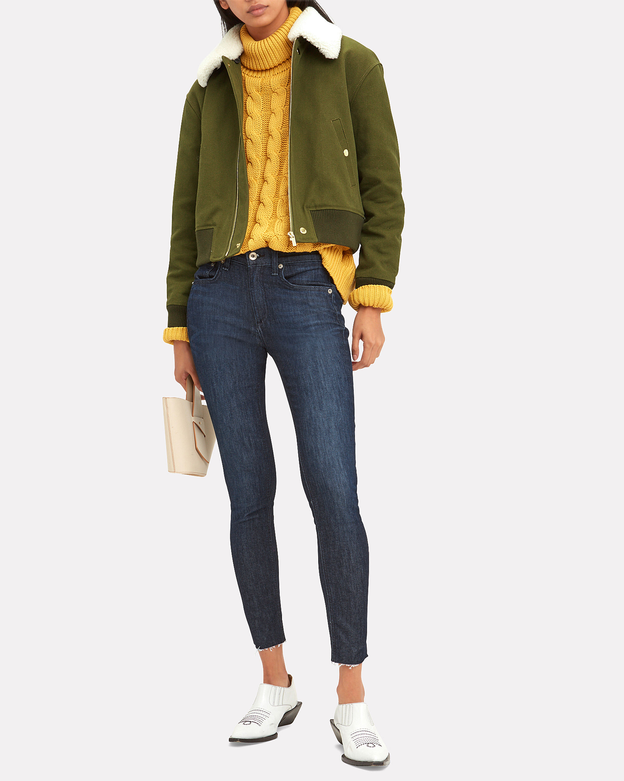 Shearling Collar Army Green Bomber Jacket, OLIVE/ARMY, hi-res