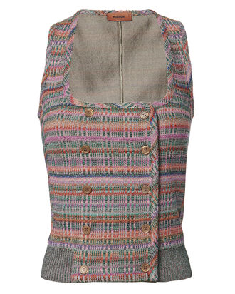 Check Knit Double Breasted Vest Top, MULTI, hi-res