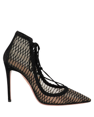 Lush Lace Up Mesh Pumps, BLACK, hi-res