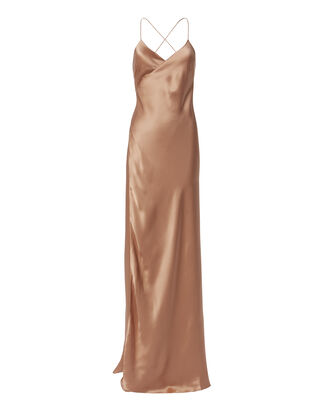 Terracotta Wrap Gown, ORANGE, hi-res
