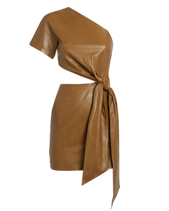 One Shoulder Cutout Leather Dress, BROWN, hi-res