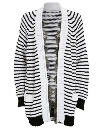 Lace-Trimmed Striped Cardigan, BLACK/WHITE, hi-res