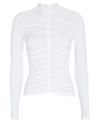 Ansel Ruched Jersey Top, IVORY, hi-res