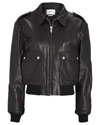 Cadell Leather Bomber Jacket, BLACK, hi-res