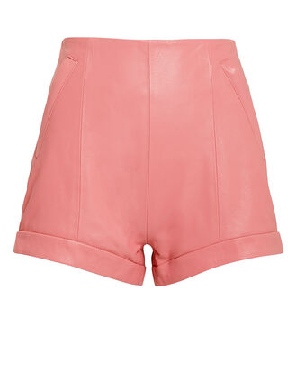 The Coventry Pink Leather Shorts, PINK, hi-res