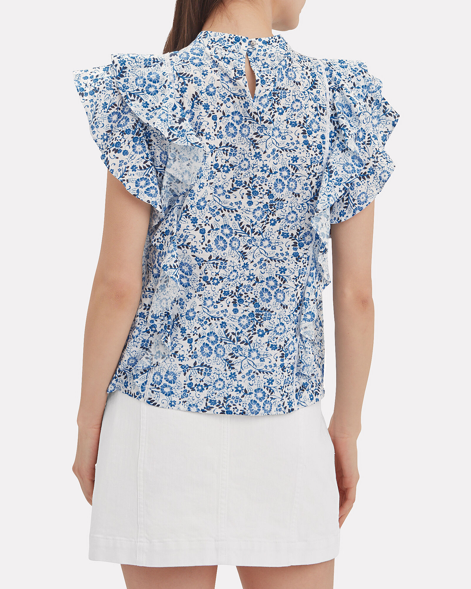 Sol Ruffle Sleeve Floral Blouse, MULTI, hi-res