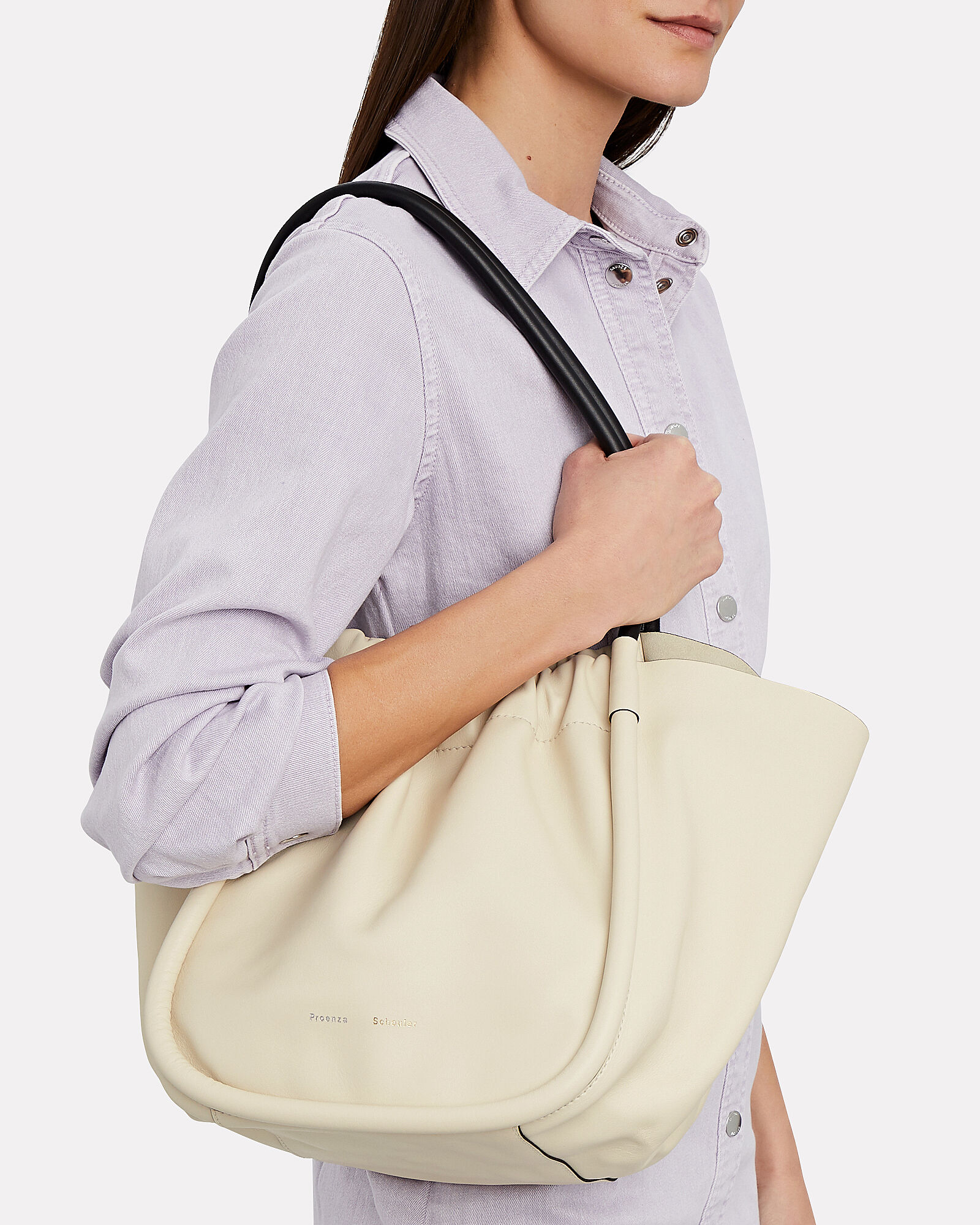 Ruched L Tote, IVORY, hi-res