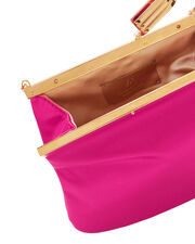 4 AM Satin Fuchsia Small Clutch, PINK, hi-res