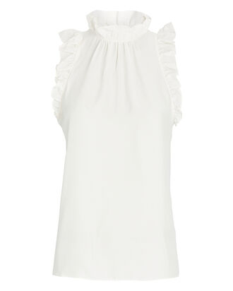 Flounce High Neck Silk Top, WHITE, hi-res