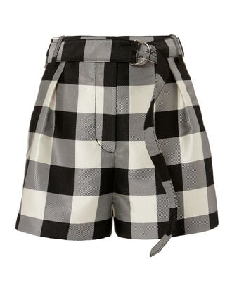 Gingham Belted Military Shorts, BLACK/WHITE, hi-res