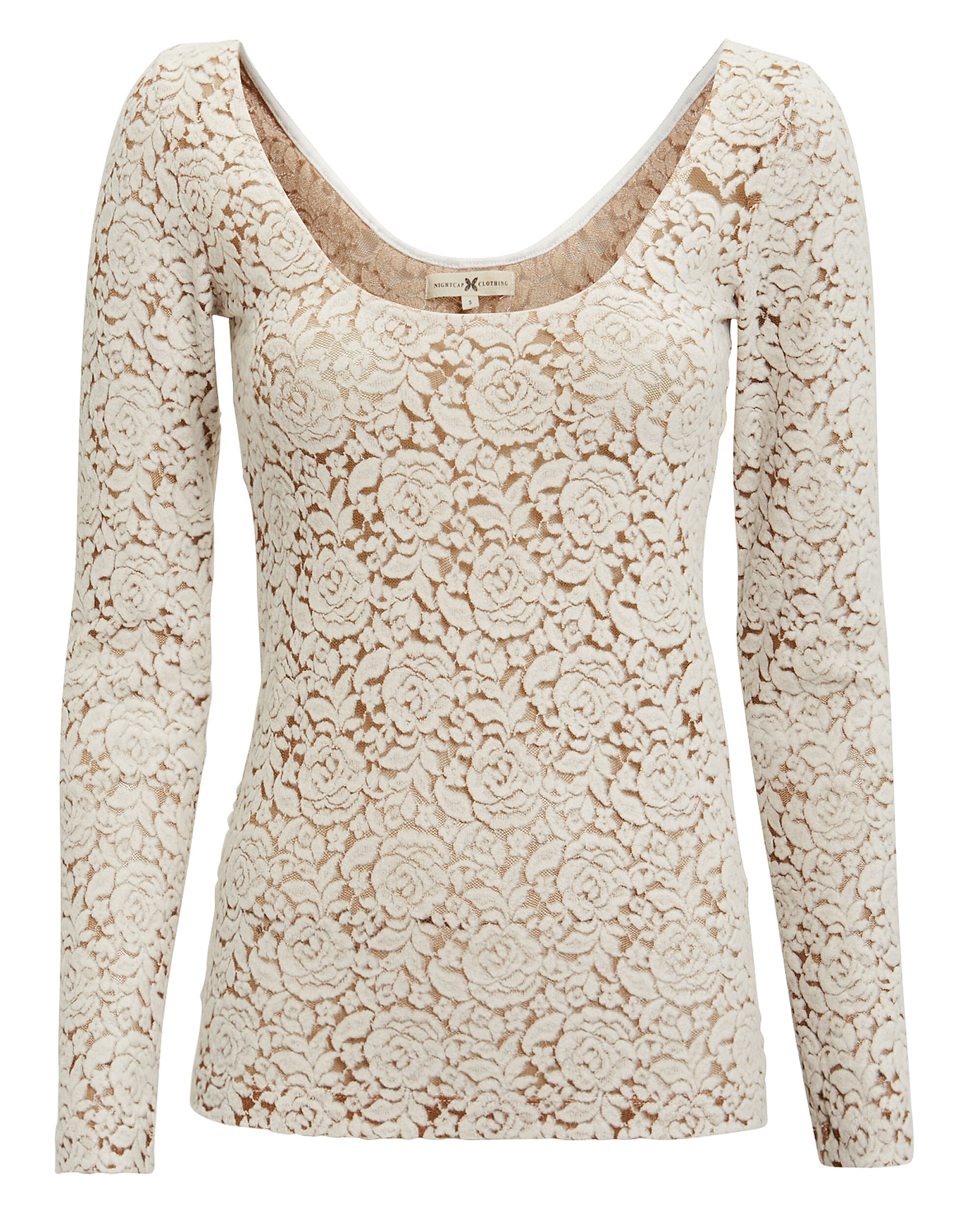 Ivory Felt Lace Top, IVORY, hi-res