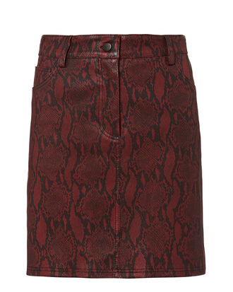 Troy Snake Print Leather Skirt, BORDEAUX SNAKESKIN PRINT, hi-res