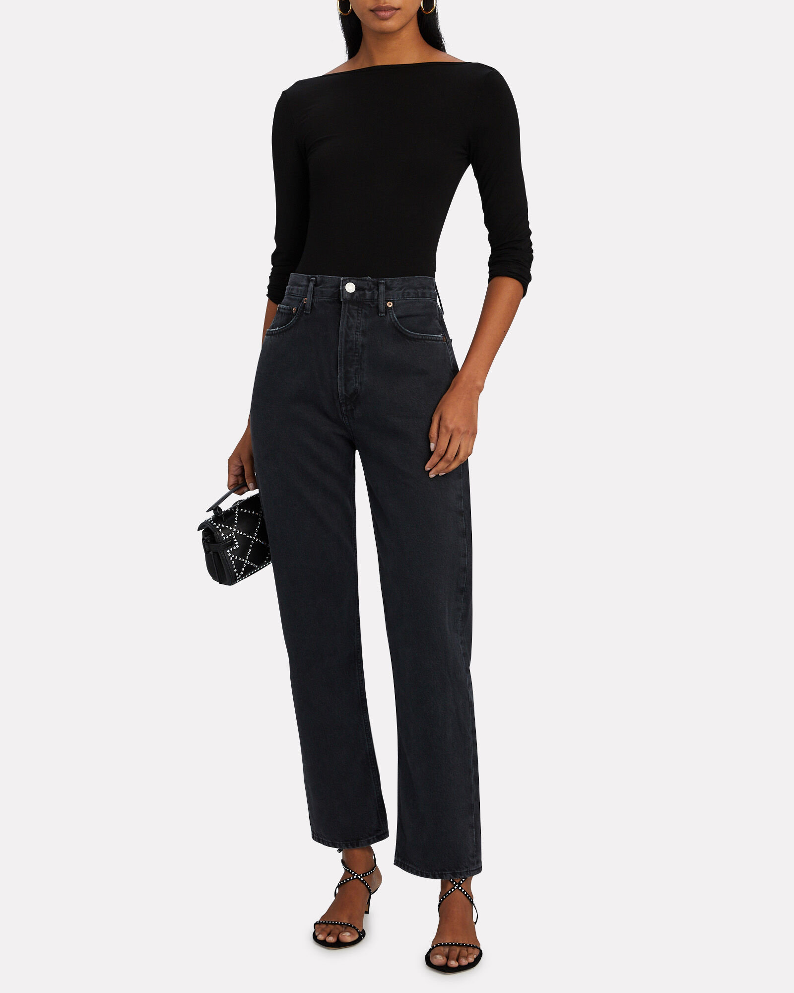 Fitted 90s Straight-Leg Jeans, BLACK TEA, hi-res
