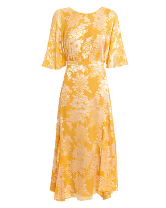 Florence Midi Dress, MUSTARD/WHITE, hi-res