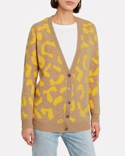 Danny Wool-Cashmere Leopard Cardigan, YELLOW/BEIGE, hi-res