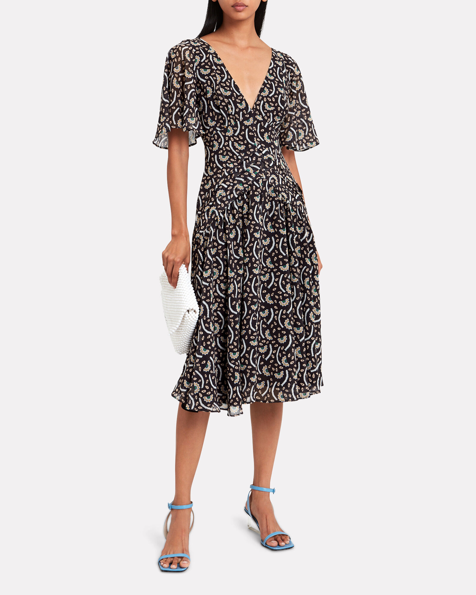 Anise Kabuki Crepe Floral Dress, BLACK/WHITE, hi-res