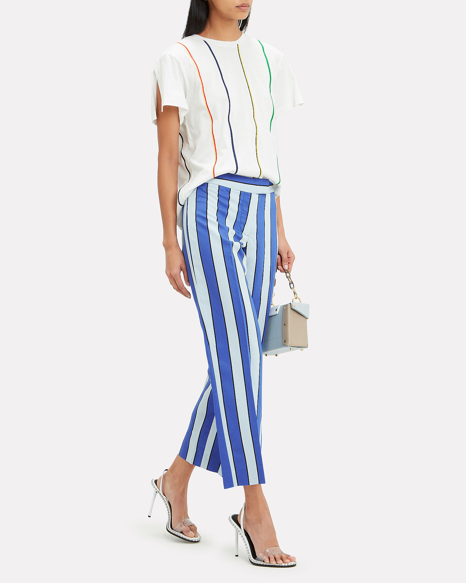 Striped Embroidered T-Shirt, WHITE, hi-res