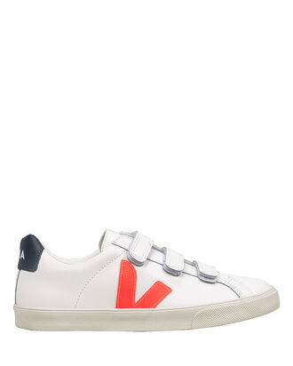 Esplar 3-Lock Logo Velcro Sneakers, WHITE/ORANGE, hi-res