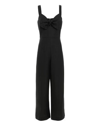 Leslie Tie Front Cropped Jumpsuit, BLACK, hi-res