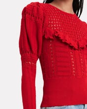 Knitted Lace Sweater, RED, hi-res