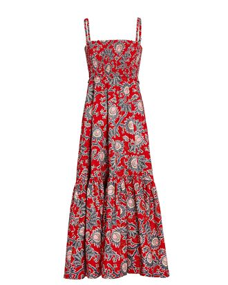 Austyn Floral Poplin Midi Dress, RED, hi-res