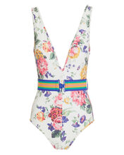 Allia Floral Belted One Piece Swimsuit, WHITE/FLORAL, hi-res