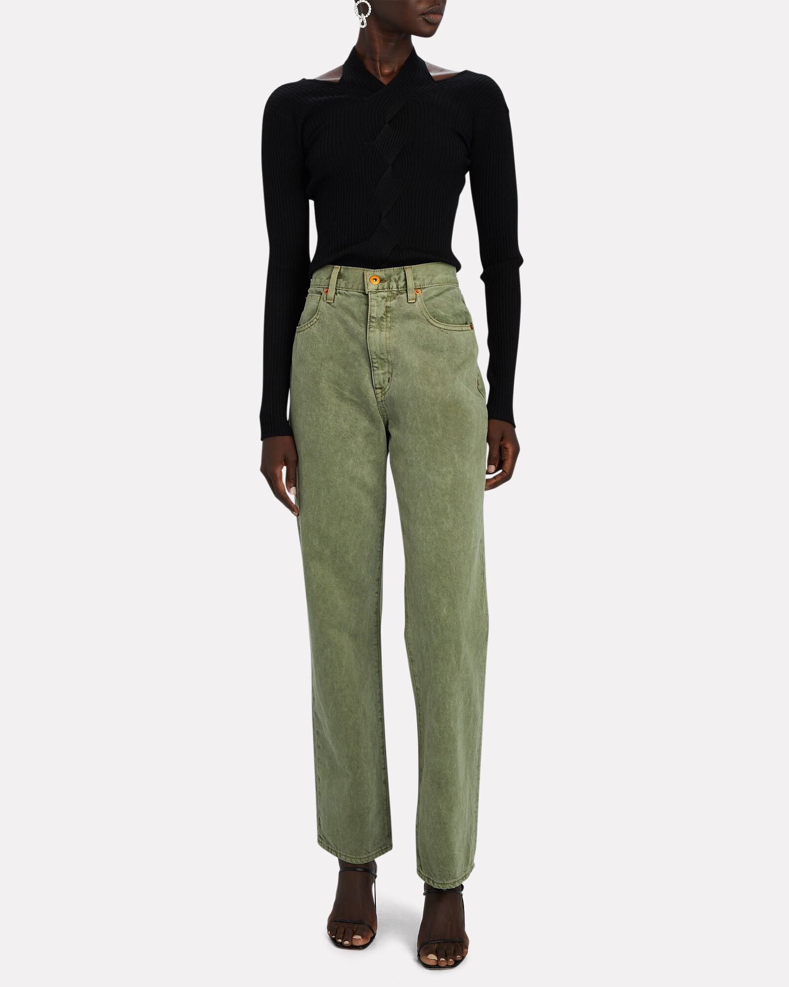 London Cropped High-Rise Jeans, GREEN, hi-res