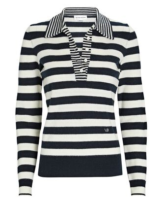 Striped Wool-Cashmere Polo Sweater, BLK/WHT, hi-res