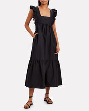 Frilled Cotton Poplin Dress, BLACK, hi-res