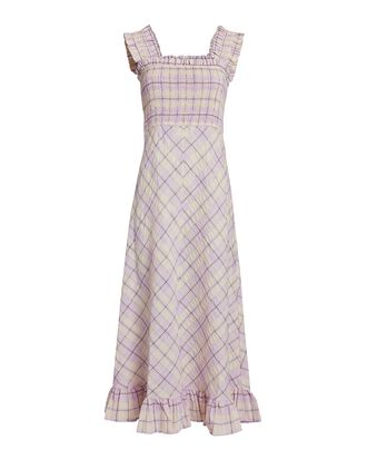 Checked Cotton-Blend Midi Dress, PALE PINK/YELLOW, hi-res