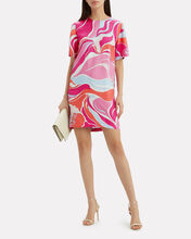 Printed T-Shirt Mini Dress, PINK, hi-res