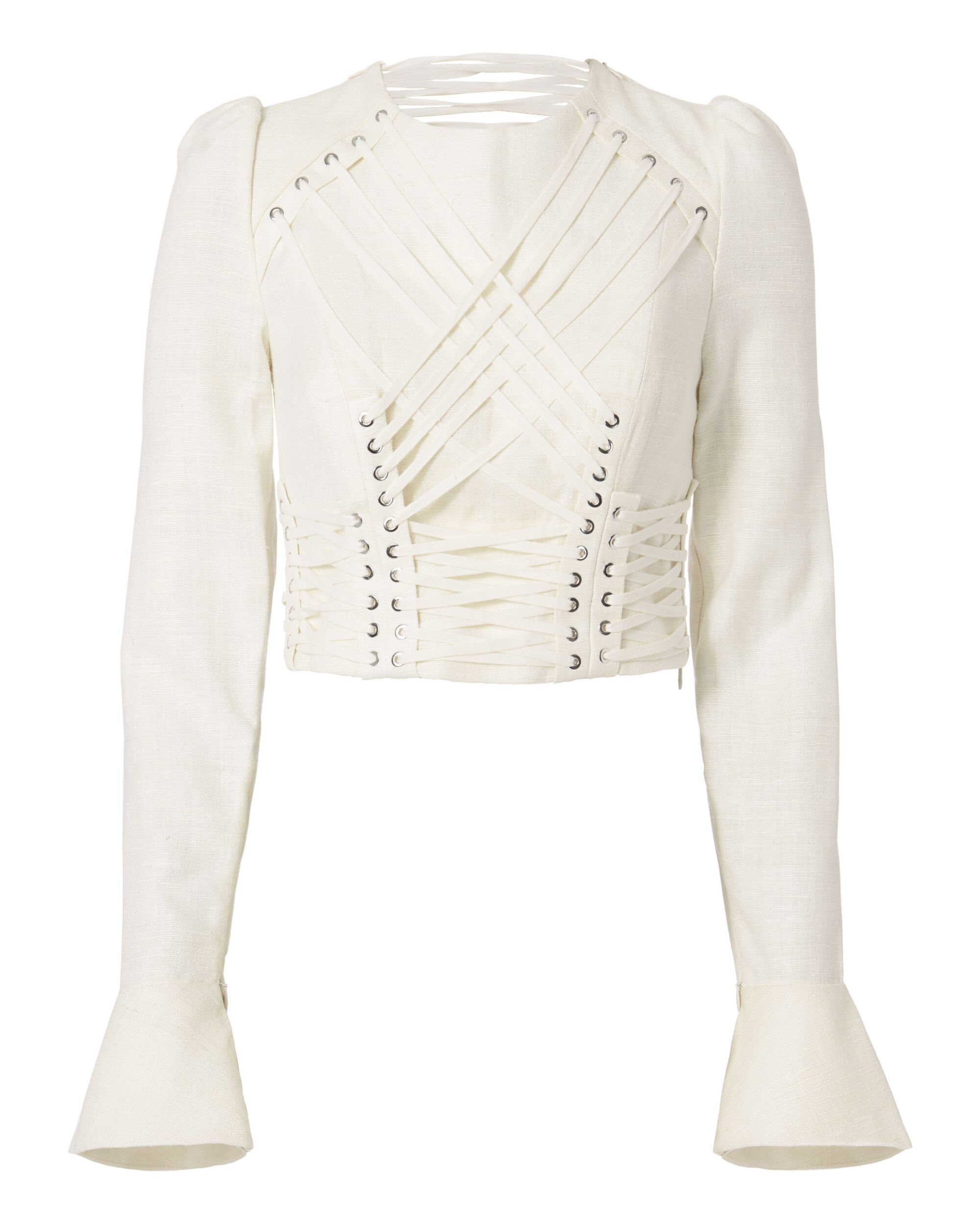 Lace-Up Cavalier Top, IVORY, hi-res