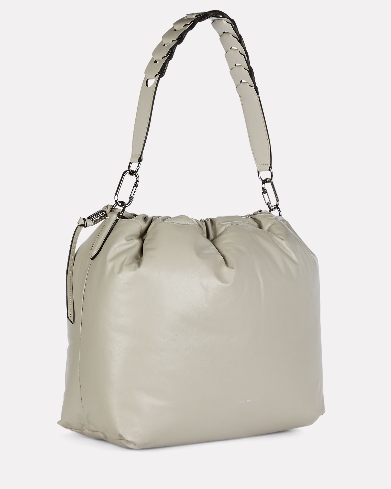 Baggara Oversized Leather Pouch Bag, LIGHT GREY, hi-res