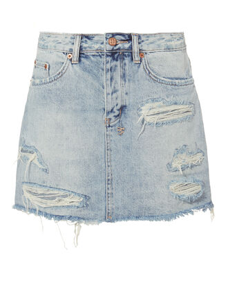 Distressed Denim Mini Skirt, DENIM-DRK, hi-res