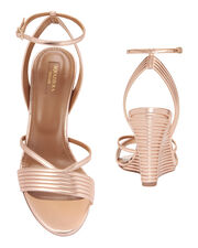Sundance Wedge Ankle Strap Sandals, CBK-METALLIC, hi-res