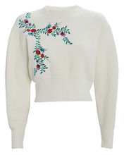 Slyvia Embroidered Sweater, WHITE, hi-res