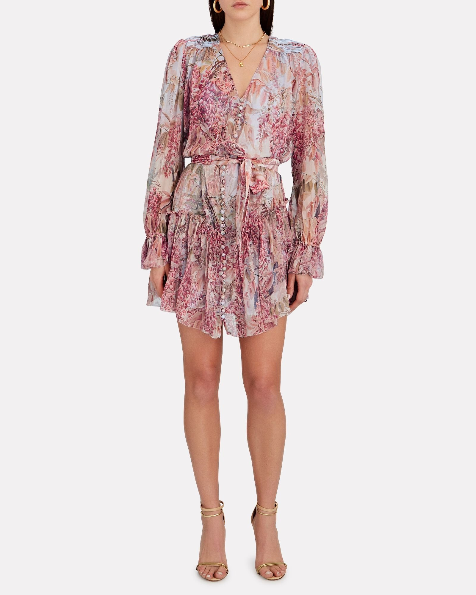 Botanica Floral Silk Mini Dress, MULTI, hi-res